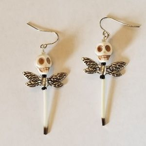Handmade Porcupine Quill Skull Dragonfly Earrings